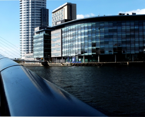 An image of the BBC building in Manchester