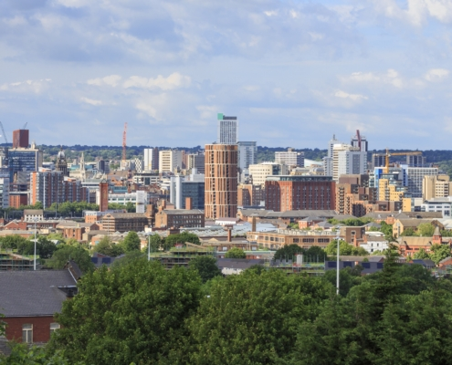 Leeds city centre skyline. Viewed from the South side of the city.