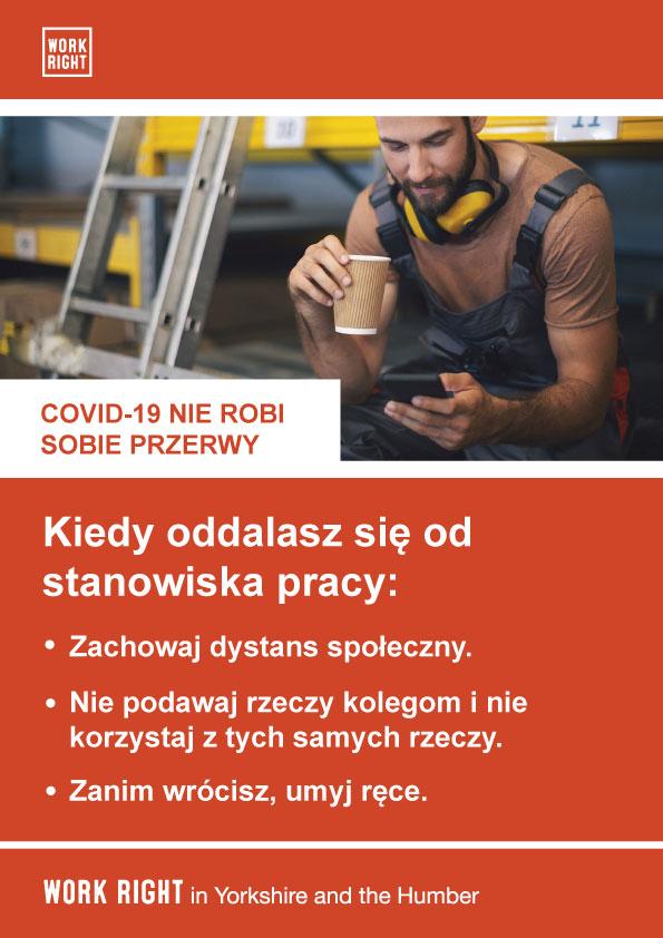 covid-19 taking a break poster in polish