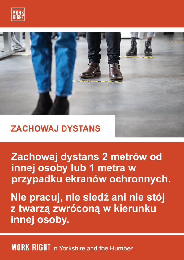 covid-19 social distancing poster in polish