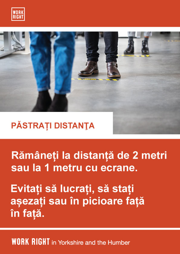 covid-19 social distancing poster in romanian