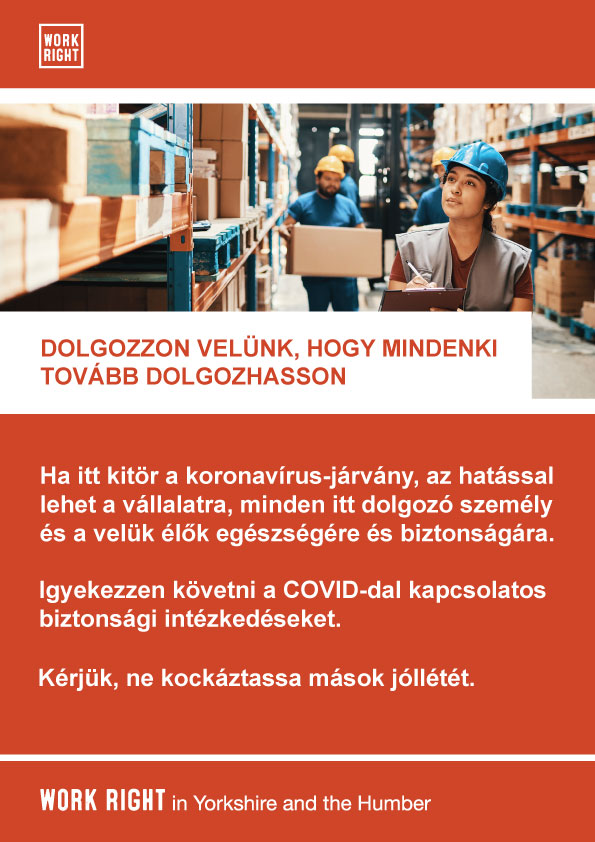 covid-19 work with us poster in hungarian