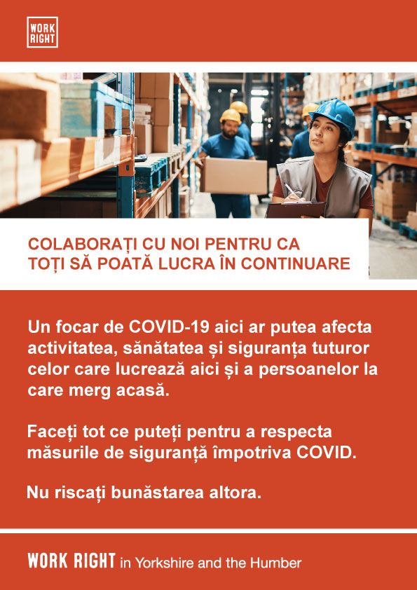 covid-19 work with us poster in romanian