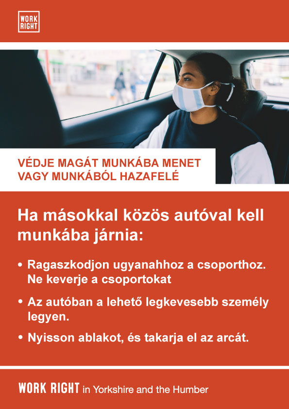 covid-19 protect yourself to and from work poster in hungarian