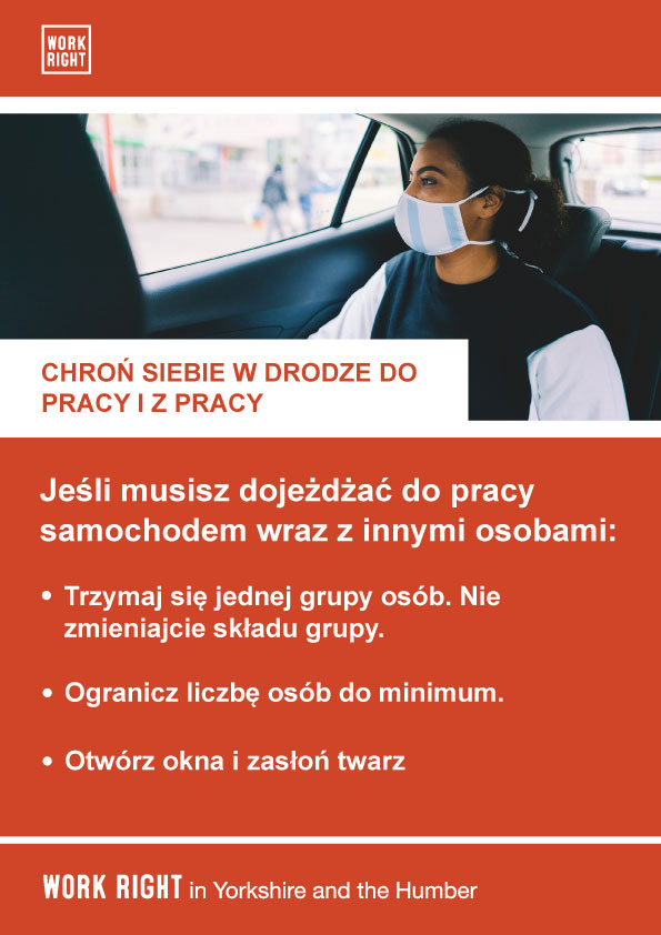 covid-19 protect yourself to and from work poster in polish