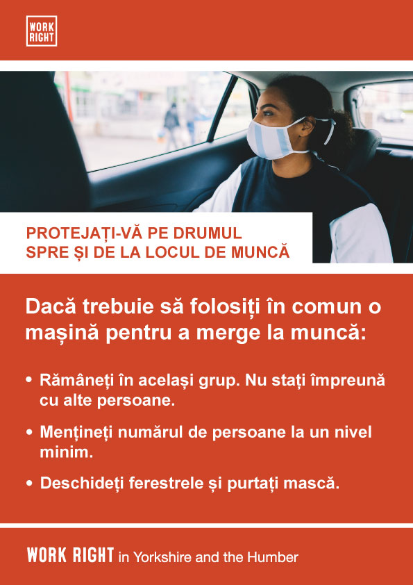 covid-19 protect yourself to and from work poster in romanian