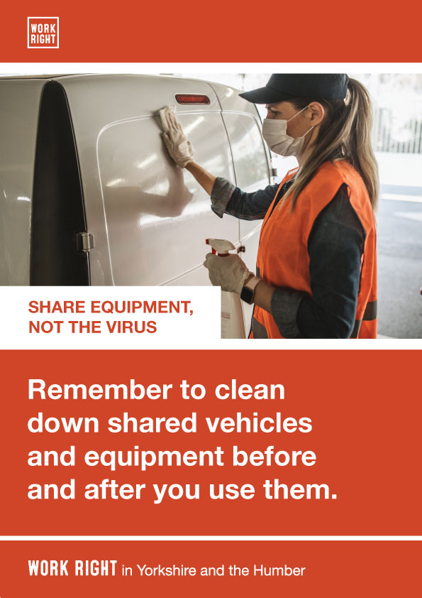 covid-19 clean shared equipment poster