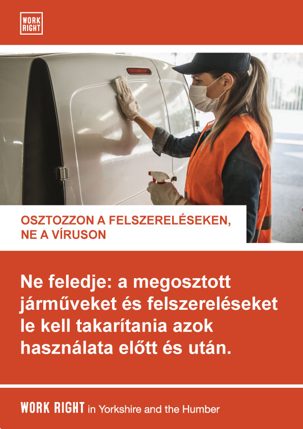 covid-19 clean shared equipment poster in hungarian