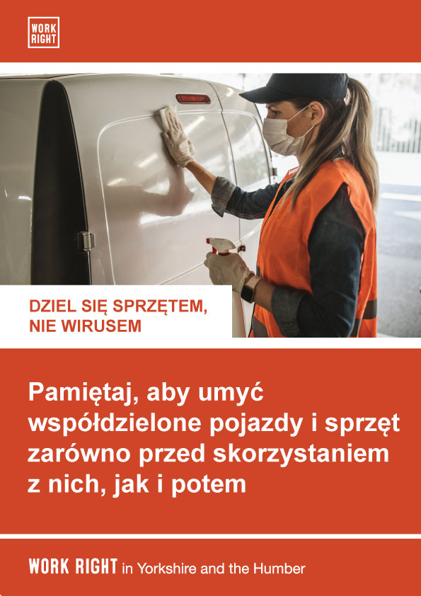 covid-19 clean shared equipment poster in polish