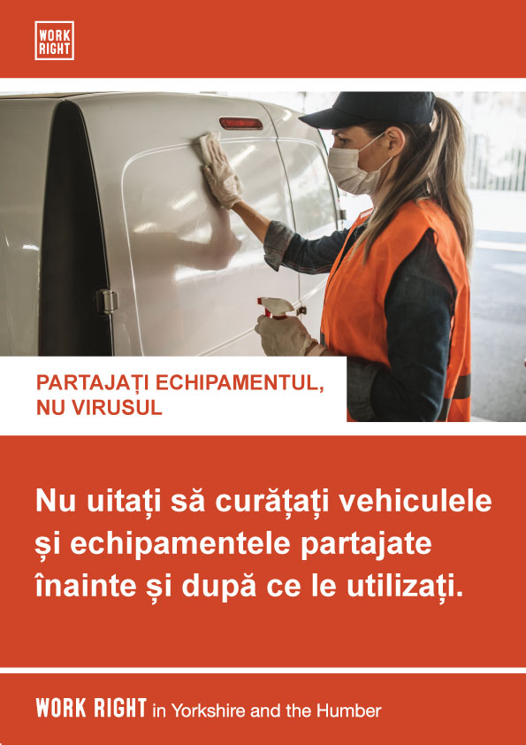 covid-19 clean shared equipment poster in romanian