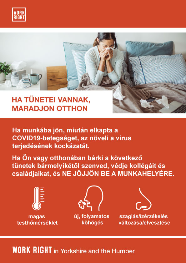 covid-19 stay home if you have symptoms poster in hungarian