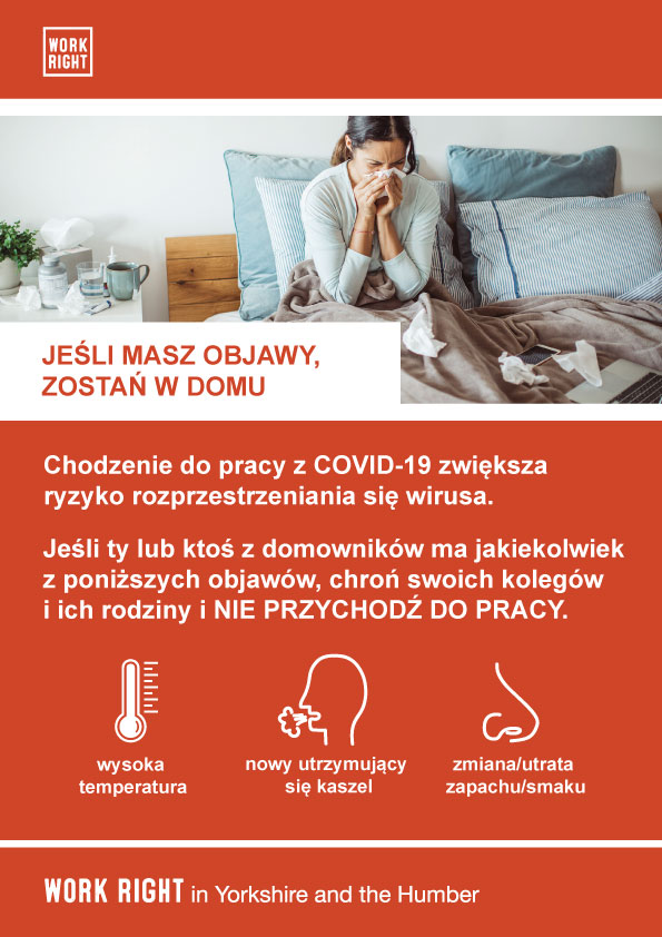 covid-19 stay home if you have symptoms poster in polish