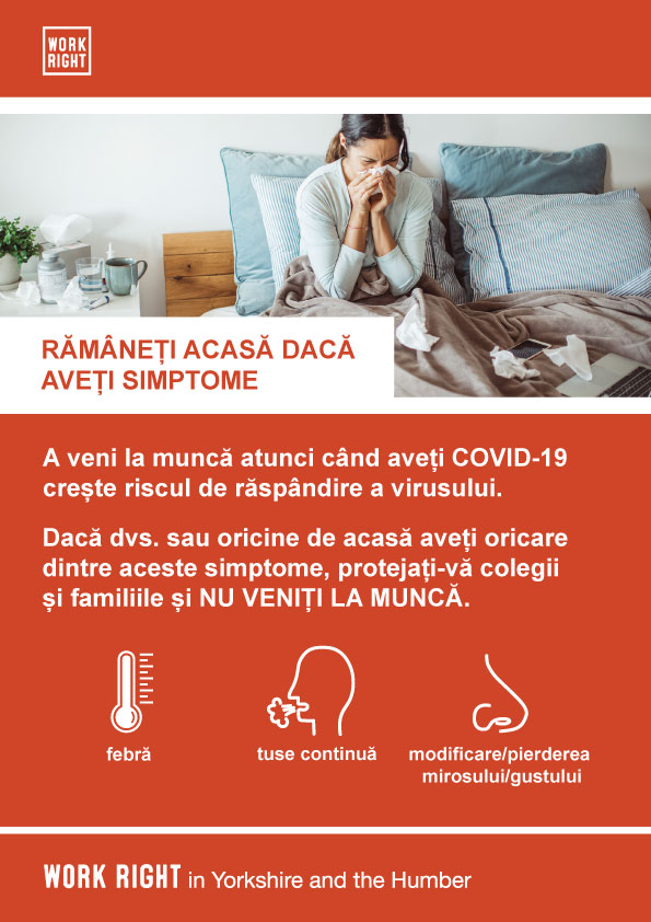 covid-19 stay home if you have symptoms poster in romanian