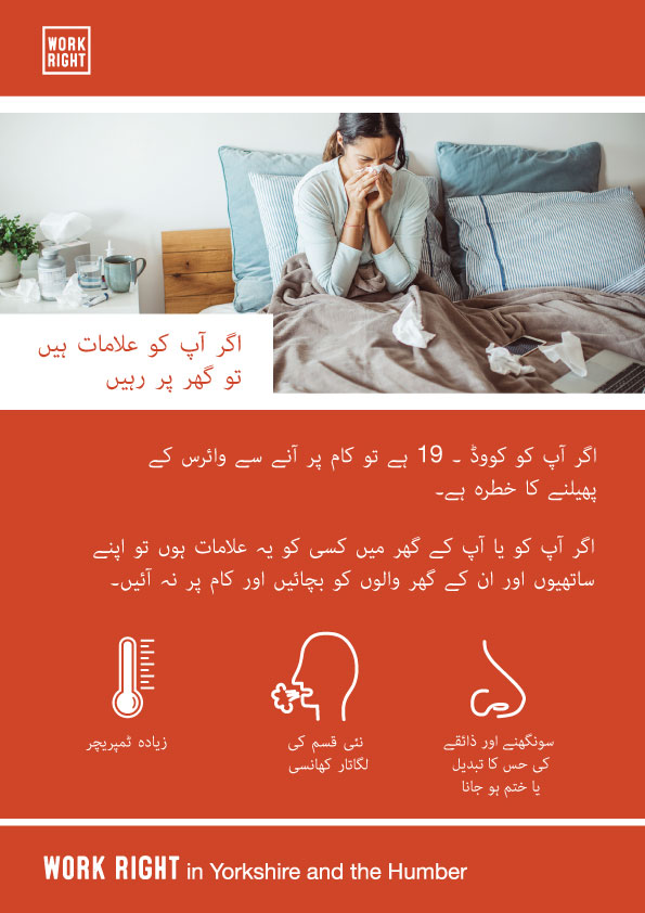 covid-19 stay home if you have symptoms poster in urdu