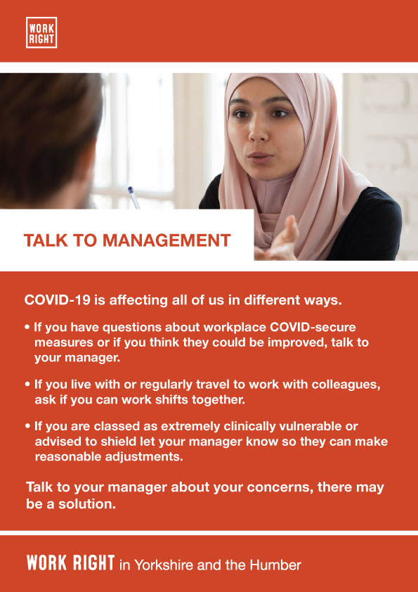 covid-19 talk to management poster