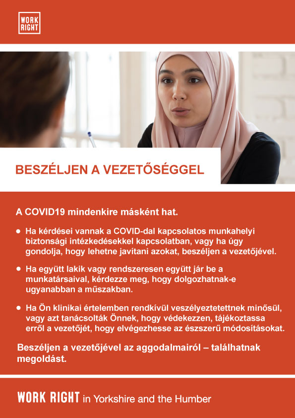 covid-19 talk to management poster in hungarian