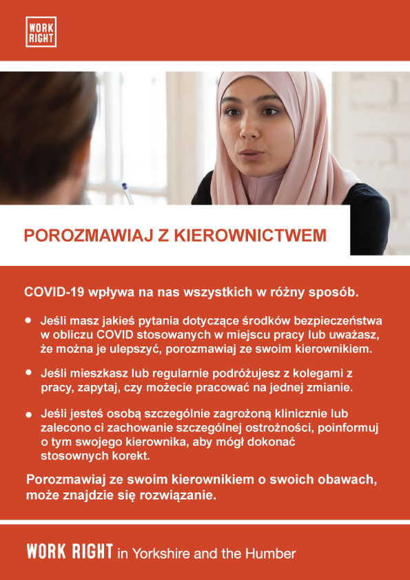 covid-19 talk to management poster in polish