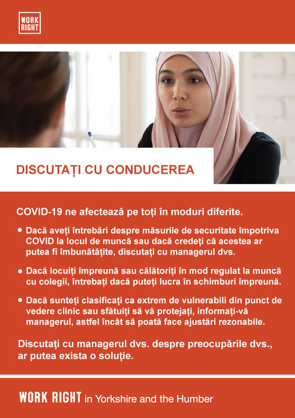 covid-19 talk to management poster in romanian