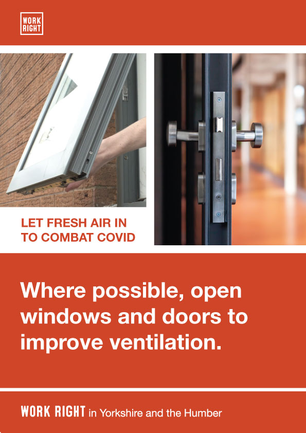 COVID poster with ventilation advice for Yorkshire